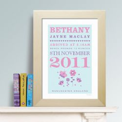 Personalised New Baby Print - Butterfly